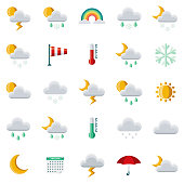 A set of 25 weather flat design icons on a transparent background. File is built in the CMYK color space for optimal printing. Color swatches are Global for quick and easy color changes.