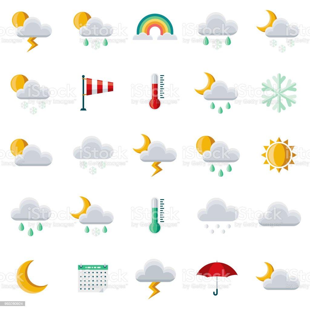 Conjunto de ícones de Design plano de tempo - ilustração de arte em vetor