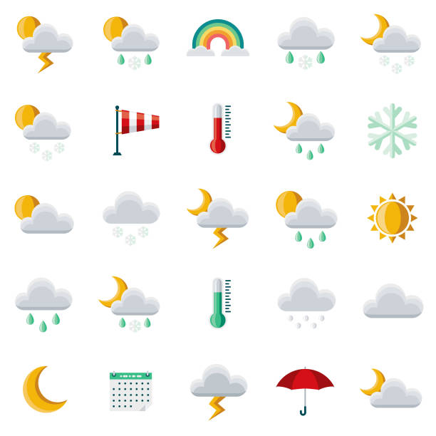 Weather Flat Design Icon Set A set of 25 weather flat design icons on a transparent background. File is built in the CMYK color space for optimal printing. Color swatches are Global for quick and easy color changes. hailing a ride stock illustrations