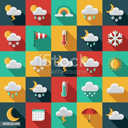 A set of flat design styled weather icons with a long side shadow. Color swatches are global so it's easy to edit and change the colors.
