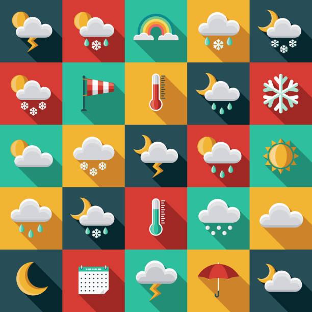 날씨 측면 그림자와 평면 디자인 아이콘 세트 - 날씨 stock illustrations
