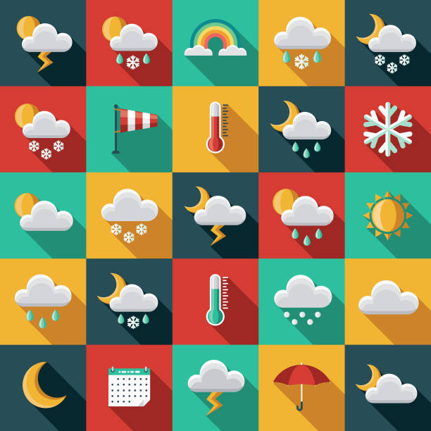 Weather Flat Design Icon Set with Side Shadow A set of flat design styled weather icons with a long side shadow. Color swatches are global so it's easy to edit and change the colors. storm stock illustrations