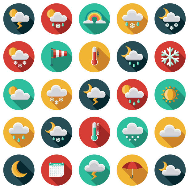 Weather Flat Design Icon Set with Side Shadow A set of flat design styled weather icons with a long side shadow. Color swatches are global so it's easy to edit and change the colors. hailing a ride stock illustrations