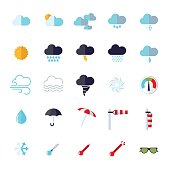 weather flat design isolated icons set