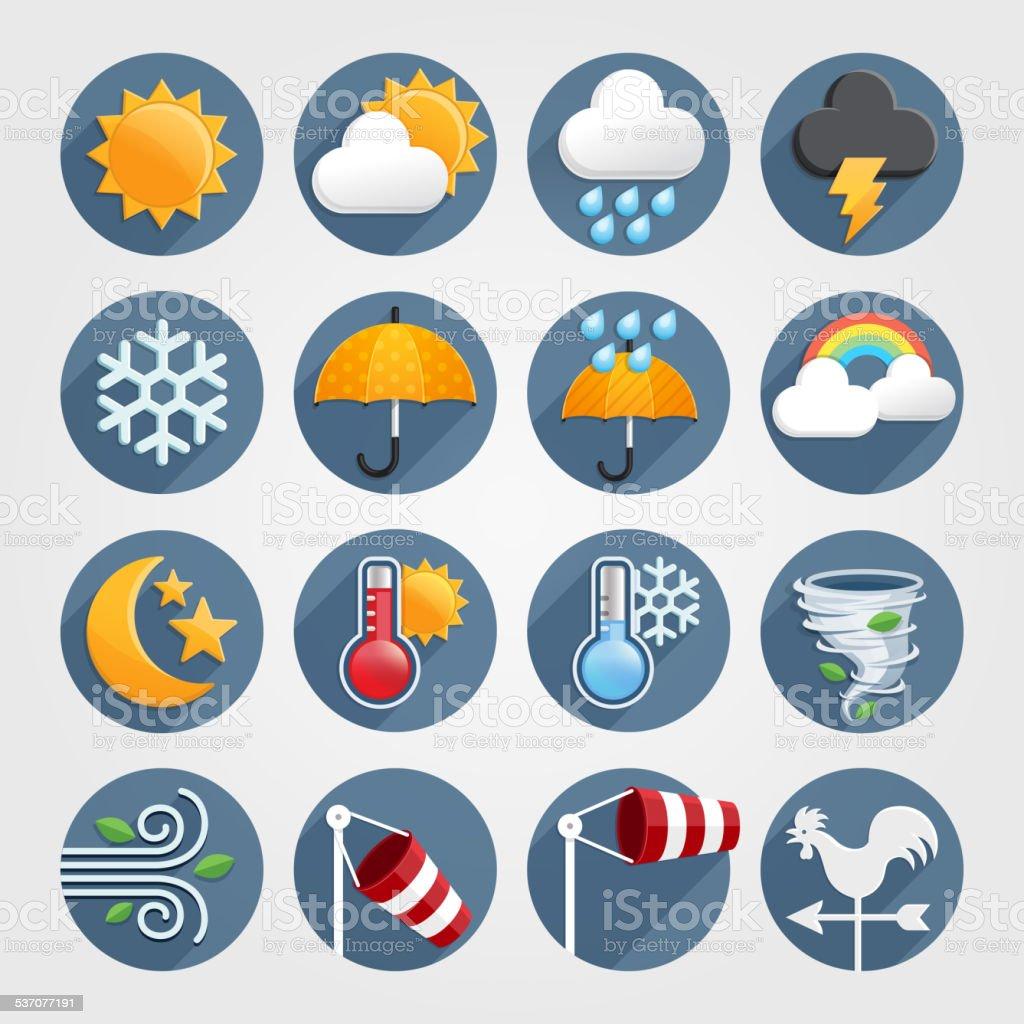 Wetter-icons set Farben. – Vektorgrafik
