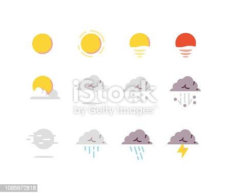 Weather Flat Icons Series including sunset, sunrise, sun, hail, heavy rain, fog, etc.
