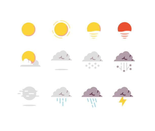 stockillustraties, clipart, cartoons en iconen met weer plat pictogrammen serie 1 - regen zon