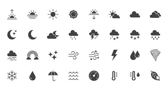 Weather flat icons set. Sun, rain, thunder storm, dew, wind, snow cloud, night sky black minimal vector illustrations. Simple glyph silhouette signs for web, forecast app