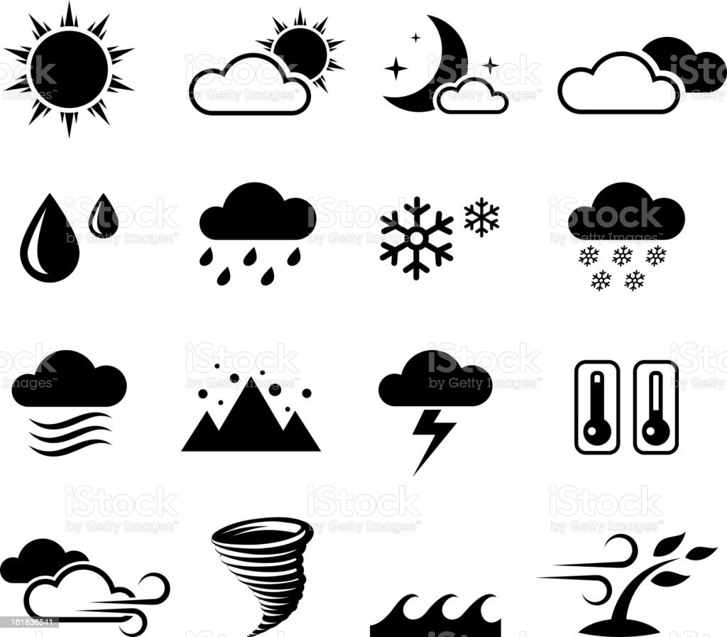 Weather forcast and seasons black & white vector icon set royalty-free stock vector art