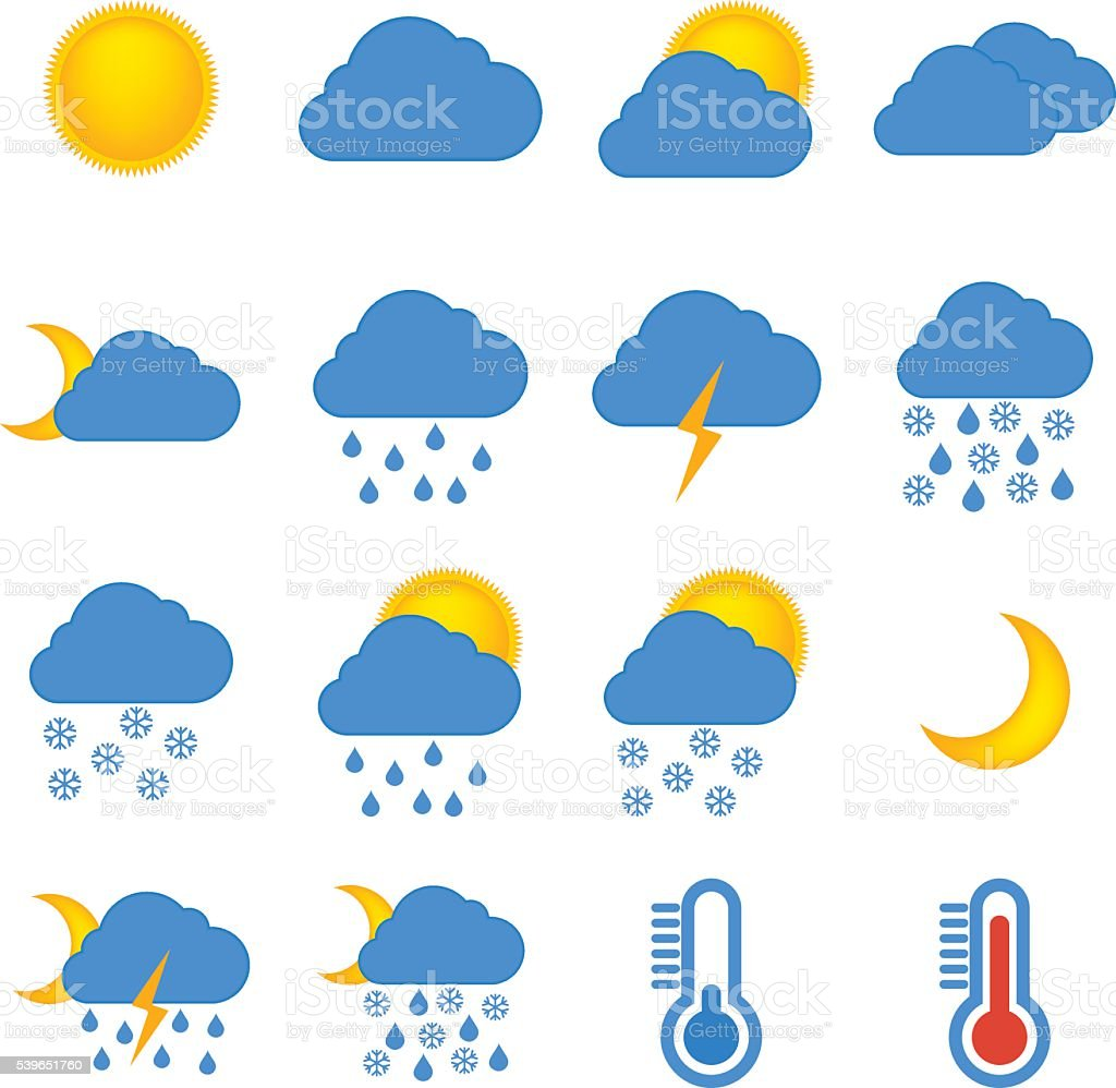 weather forecast and meteorology symbols icons flat set