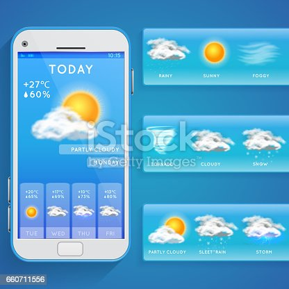 Weather forecast app on smartphone screen and realistic vector icons. Weather app on phone, illustration mobile screen with web forecast weather