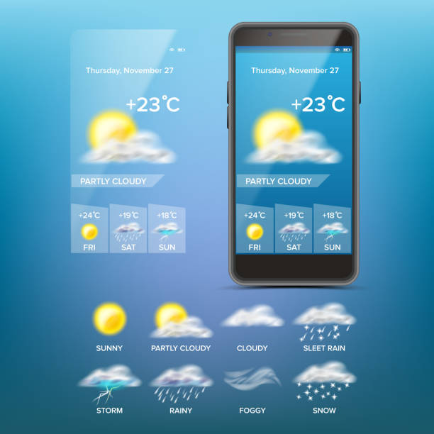 ilustrações de stock, clip art, desenhos animados e ícones de weather forecast app vector. weather icons set. blue background. mobile weather application screen. illustration - condições meteorológicas