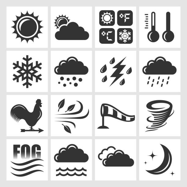 Weather Forecast black & white royalty free vector icon set Weather Forecast black & white icon set hailing a ride stock illustrations