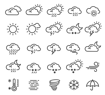Weather forecast, climate outline icons set isolated on white. Cloudy, sunny, clear, rainy.