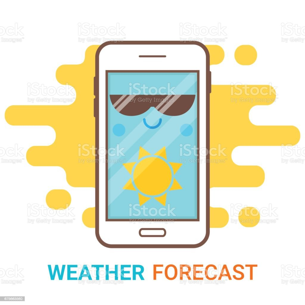 Weather forecast in smartphone. Cartoon happy phone with sun icon and big sunglasses. Mobile app, widget, online meteorology services concept. Flat modern vector. Creative flyer, poster template. royalty-free weather forecast in smartphone cartoon happy phone with sun icon and big sunglasses mobile app widget online meteorology services concept flat modern vector creative flyer poster template stock vector art & more images of blue