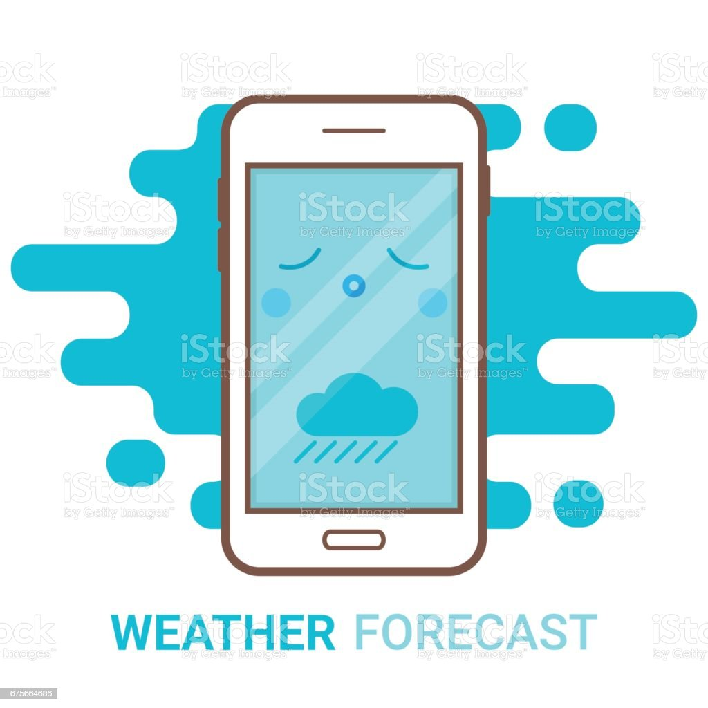 Weather forecast in smartphone. Cartoon unhappy phone with rain and colouds icon. Mobile app, widget, online meteorology services concept. Flat modern vector. Creative flyer, poster template. royalty-free weather forecast in smartphone cartoon unhappy phone with rain and colouds icon mobile app widget online meteorology services concept flat modern vector creative flyer poster template stock vector art & more images of blue