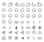 Weather forecast line icons set