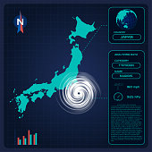 Weather forecast map of JAPAN with Typhoon Hagibis or tornado. Editable infographic template with different charts, data icons, meteo pictograms. Modern Interface design of climate forecast technology.