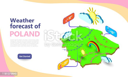 Weather forecast map of POLAND. Isometric set icons location on country. Vector widgets layout of a meteorological application. Illustration of meteo pictograms for web, graphic, infographic design.