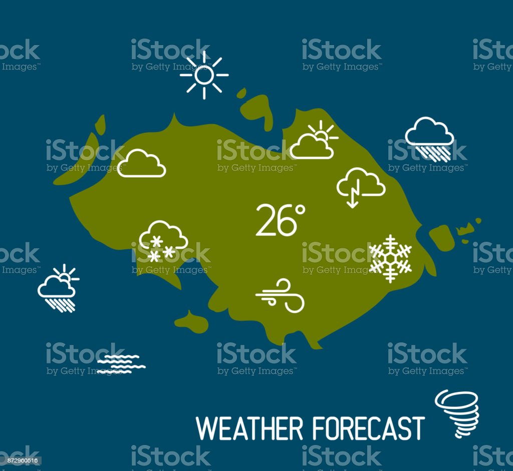 Weather Forecast Map With Flat Pointers And Icons Stock Vector Art