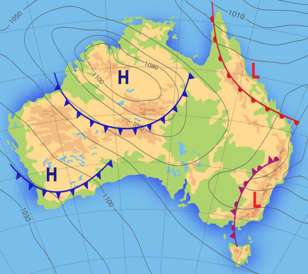 ilustrações de stock, clip art, desenhos animados e ícones de weather forecast. meteorological weather map of the australia. realistic synoptic map australia with aditable generic map showing isobars and weather fronts. topography and physical map. - weatherman
