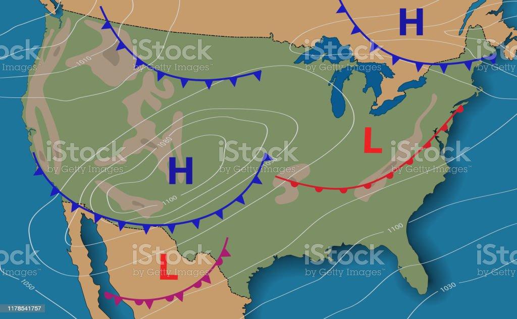 Ilustración De Pronóstico Del Tiempo Mapa Meteorológico De Los Estados Unidos De América Mapa Sinóptico Realista De Eeuu Con Mapa Genérico Anotable Que Muestra Isobares Y Frentes Meteorológicos Topografía Y Mapa Físico