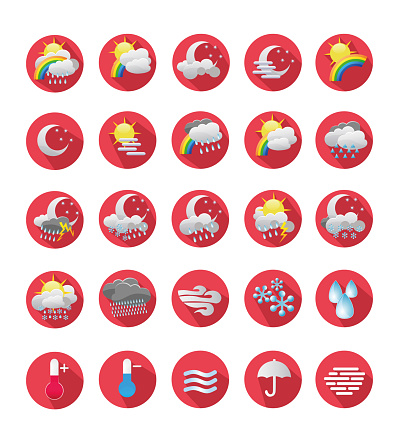 Weather forecast meteorology Icons flat design vector Icon stock illustration set. Colorful weather forecast design elements, perfect for mobile apps and widgets. Set contains; Sun, rain, thunder storm,  dew, wind, snow, cloud, fog. Collection of meteorology elements, cold and hot thermometer sign.