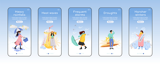Weather forecast onboarding mobile app screen flat vector template. Seasonal storms. Walkthrough website steps with characters. UX, UI, GUI smartphone cartoon interface, case prints set