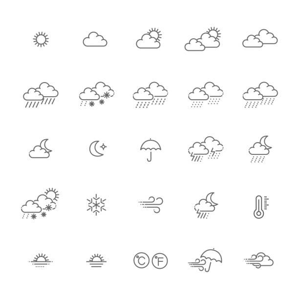 Wettervorhersage - Web Icon-Set, Vektor, dünne Linie Symbolsammlung skizzieren – Vektorgrafik