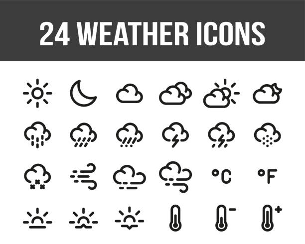 Weather forecast. Set of outline weather icons. Vector Weather forecast. Set of outline weather icons. Vector storm stock illustrations