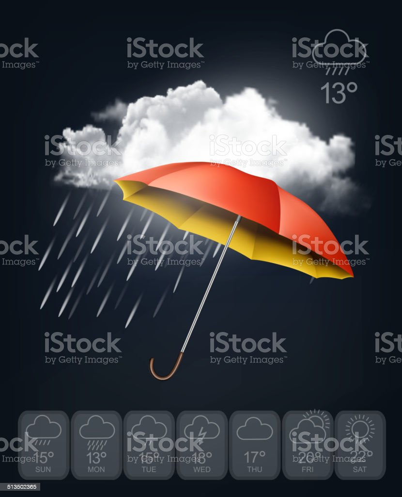 Weather forecast template. An umbrella on rainy background. Vect vector art illustration