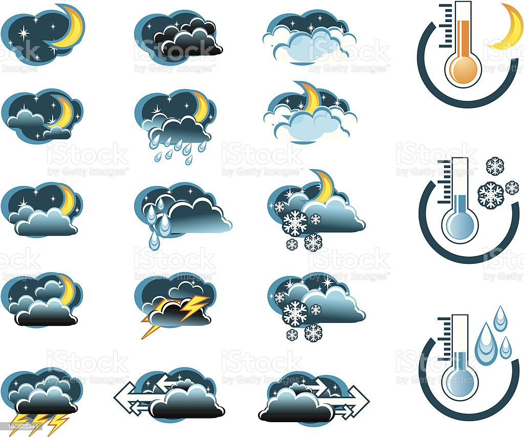Weather Forecast vector icone set (night) and Thermometers royalty-free stock vector art