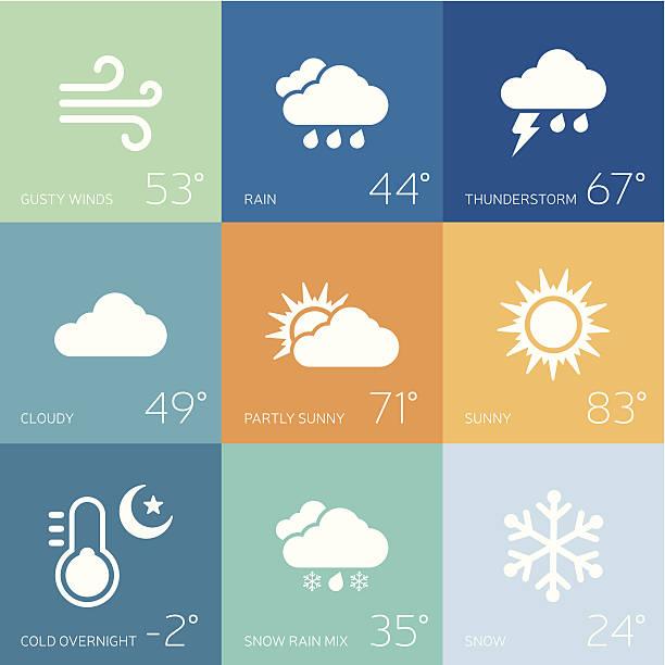 stockillustraties, clipart, cartoons en iconen met weather forecast - regen zon