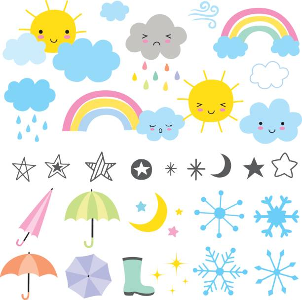 weather forecast - cute stock illustrations
