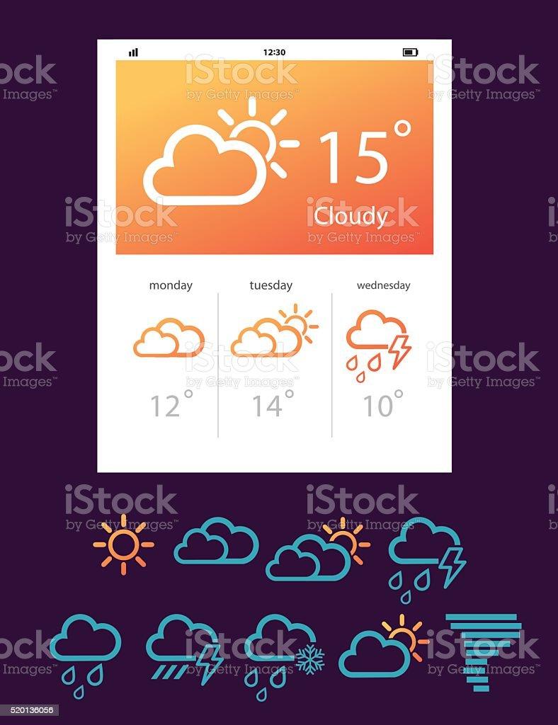 Weather Forecast Widgets Template Vector Illustration Stock