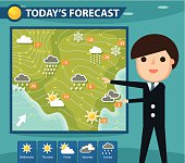 A weatherman presenting weather forecast. Zip contains AI and hi-res jpeg.