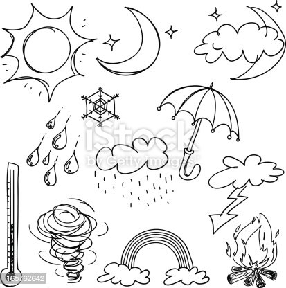 istock Weather icon collection in black and white 165762642
