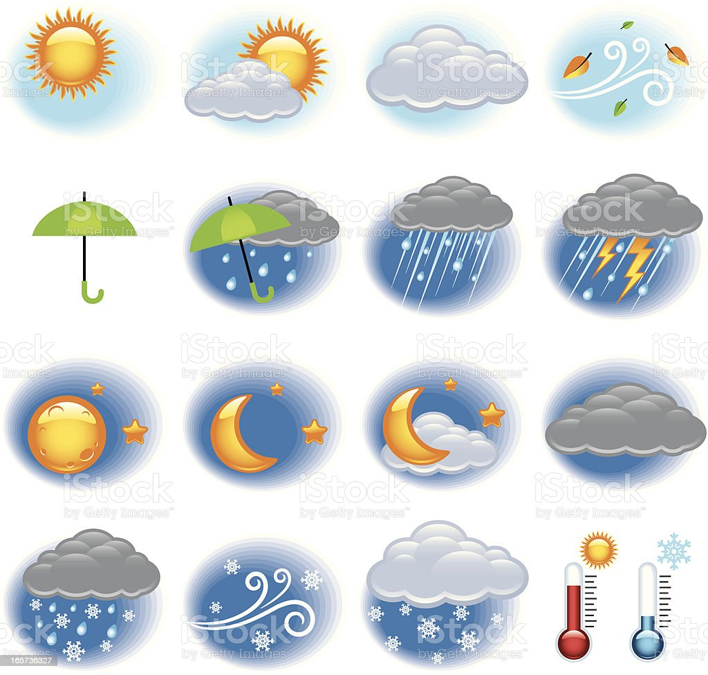 Weather Icon in White royalty-free stock vector art
