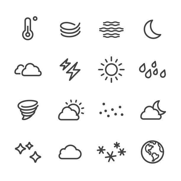 wetter-icon - line serie - mond stock-grafiken, -clipart, -cartoons und -symbole