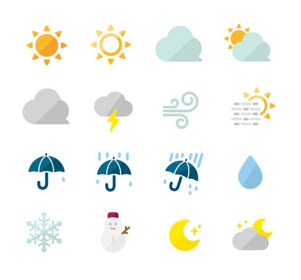 Weather icon set / color version ( sun,rainy,cloudy,snow,foggy etc.) vector art illustration