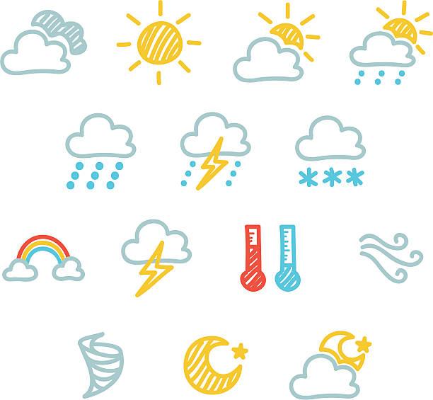 Weather Icon Set - Doodle - Grouped individually forked lightning stock illustrations