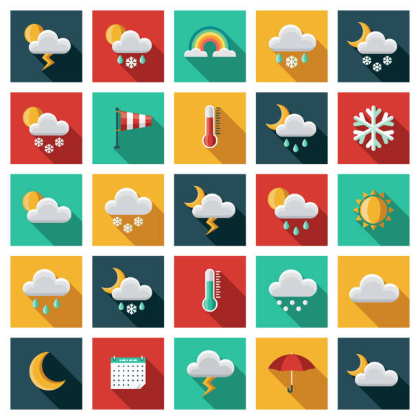 Weather Icon Set A set of square flat design icons with a long side shadow. File is built in the CMYK color space for optimal printing. Color swatches are global so it's easy to edit and change the colors. hailing a ride stock illustrations