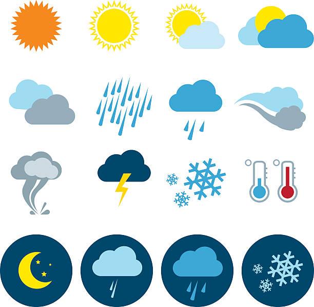 Weather Icon Set Weather Universal icons Set forked lightning stock illustrations