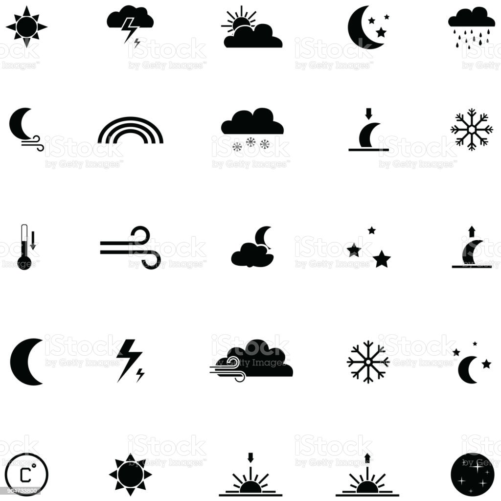 Weather Icon Set Stock Vector Art & More Images of Cloud - Sky