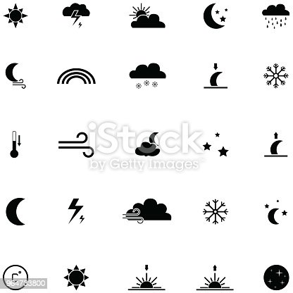 Weather Icon Set Stock Vector Art & More Images of Cloud - Sky 964733800