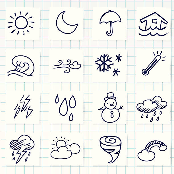 Weather Icon Vector File of Doodle Weather Icon Set hailstorm stock illustrations