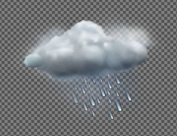 weather icon Vector illustration of cool single weather icon with raincloud and raindrops isolated on transparent background hailstorm stock illustrations