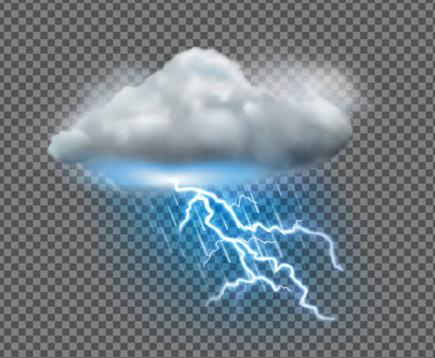 weather icon Vector illustration of cool single weather icon with cloud, heavy fall rain and lightning on transparent background thunderstorm stock illustrations