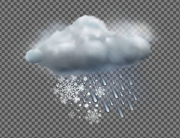 weather icon Vector illustration of cool single sleet weather icon with cloud, snow and rain on transparent background hailstorm stock illustrations