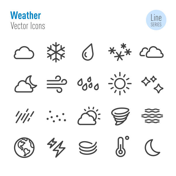 Weather Icon - Vector Line Series Weather, Meteorology, Climate, ice stock illustrations
